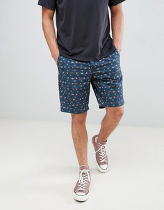Узкие шорты чиносы с пальмовым принтом United Colors Of Benetton - Синий
