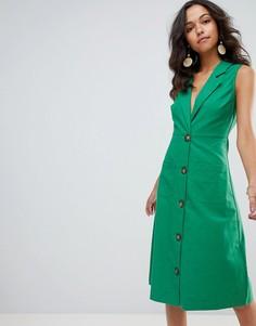 Платье миди с пуговицами Moon River - Зеленый