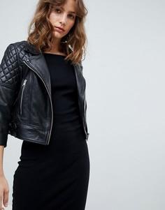 Стеганая кожаная байкерская куртка AllSaints - Черный