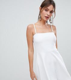 Короткое приталенное платье с квадратным вырезом Boohoo - Белый