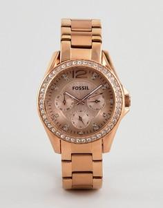 Наручные часы цвета розового золота Fossil ES2811 Riley - Золотой