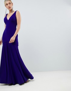 Плиссированное платье макси с глубоким вырезом Jovani - Синий