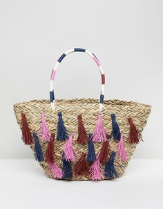 Соломенная пляжная сумка с кисточками Vincent Pradier - Мульти
