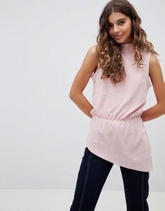 Асимметричная блузка с высоким воротом b.Young - Розовый