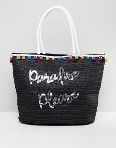 Соломенная пляжная сумка 7X Slogan - Черный