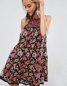 Платье с цветочным принтом Free People - Черный