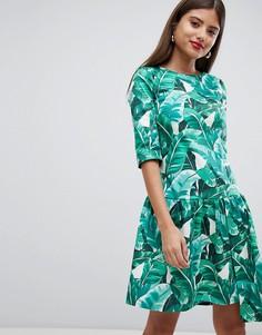 Платье с тропическим принтом и асимметричным подолом Closet London - Мульти