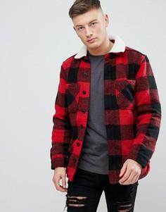 Красная рубашка в клетку с искусственным мехом Pull&Bear - Красный Pull&;Bear
