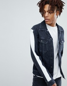 Приталенная джинсовая куртка с полосками на рукавах Lee - Черный