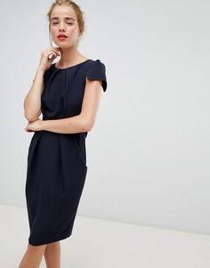 Темно-синее платье с короткими рукавами и поясом Closet London - Темно-синий