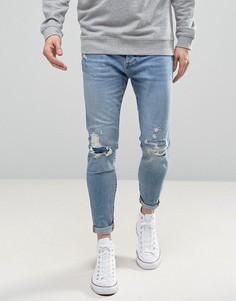 Светлые рваные джинсы-морковки Pull&Bear - Синий Pull&;Bear