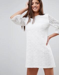 Кружевное платье мини Fashion Union - Кремовый