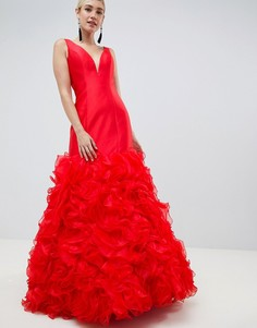 Платье макси с 3D отделкой Jovani - Красный
