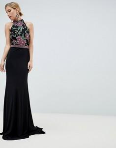 Платье макси с вышивкой Jovani - Черный