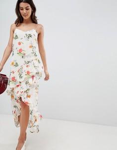 Платье миди с запахом и цветочным принтом Vila - Мульти