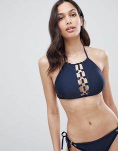Y.A.S Ring Detailed Halterneck Bikini Top - Черный