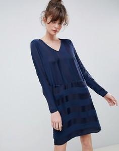 Свободное платье в полоску Ichi - Темно-синий
