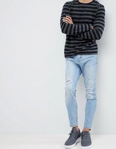 Синие джинсы-морковки с рваной отделкой Pull&Bear - Синий Pull&;Bear