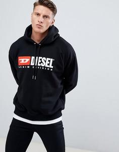 Худи черного цвета с логотипом Diesel S-Division Industry - Черный