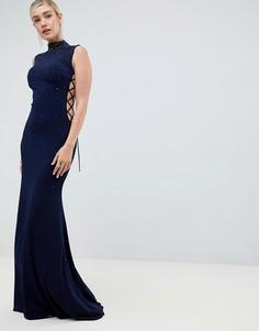 Платье макси с высоким воротом Jovani - Темно-синий
