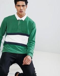 Зеленая рубашка в стиле колор блок Pull&Bear - Зеленый Pull&;Bear