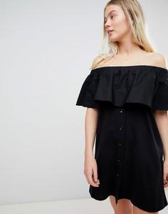 Черное платье с открытыми плечами Pull&Bear - Черный Pull&;Bear