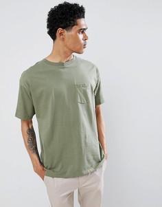 Футболка цвета хаки с карманом Pull&Bear Join Life - Зеленый Pull&;Bear