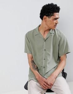 Рубашка цвета хаки с воротником в виде лацканов Pull&Bear Join Life - Зеленый Pull&;Bear