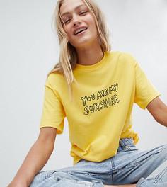Футболка бойфренда с надписью Sunshine Daisy Street - Желтый