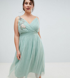 Платье миди с цветочной аппликацией Little Mistress Plus - Зеленый