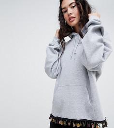 Oversize-худи с отделкой монетками и кисточками Rokoko - Серый