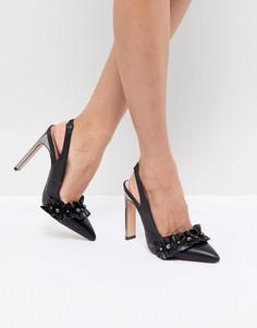 Туфли на каблуке с отделкой искусственным жемчугом и оборкой Lost Ink - Черный