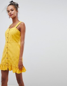 Желтое джинсовое платье мини ASOS DESIGN - Серый