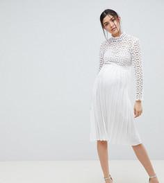 Платье миди с рукавами 3/4 и кружевным верхом Little Mistress Maternity - Белый
