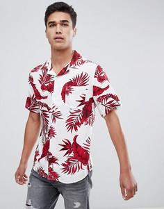Рубашка с короткими рукавами, принтом и воротником в виде лацканов Only & Sons - Белый