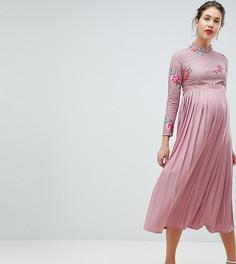 Платье миди с кружевным топом и плиссированной юбкой Little Mistress Maternity - Розовый