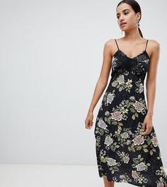Платье миди с цветочным принтом и кружевной отделкой Missguided - Черный