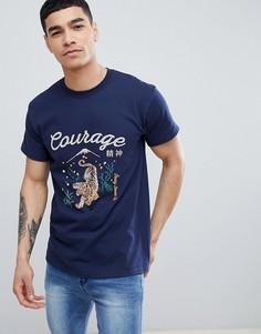 Черная футболка с принтом тигра и надписью Courage River Island - Темно-синий