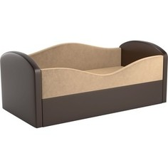 Детская кровать АртМебель Сказка вельвет бежевый+экокожа коричневый