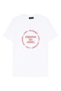 Белая футболка Kuraga с контрастной надписью Russian Essentials