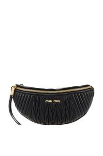 Черная сумка на пояс Miu Miu