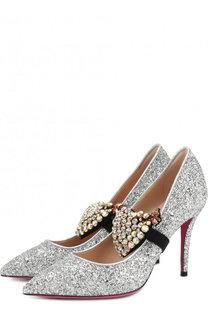 Туфли Virginia с глиттером на шпильке Gucci