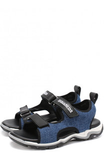 Кожаные сандалии с отделкой из денима и застежками велькро Dsquared2