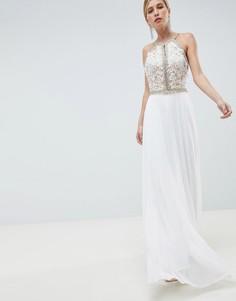 Платье макси с вышивкой на лифе Jovani - Белый