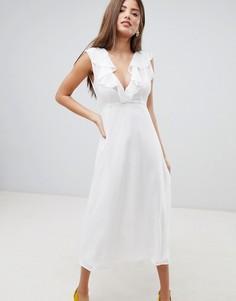 Платье миди с оборкой Fashion Union - Белый