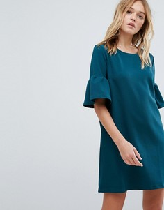 Чайное платье с оборками на рукавах Pull&Bear - Зеленый Pull&;Bear