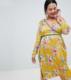 Missguided Plus Satin Floral Wrap Dress - Желтый