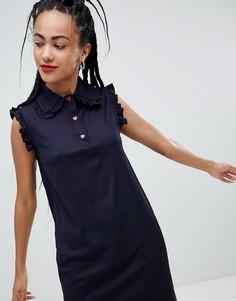 Платье с оборками и контрастными пуговицами Love Moschino - Синий