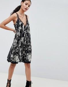 Платье-комбинация с принтом Religion Neo - Черный