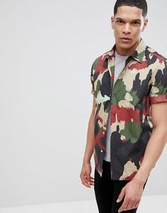 Рубашка в стиле милитари с короткими рукавами и камуфляжным принтом G-Star - Зеленый